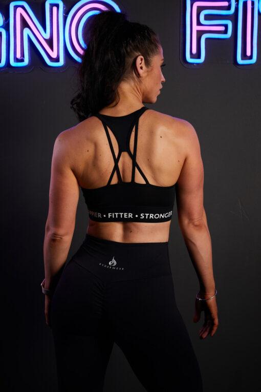 Stringy back crop top black
